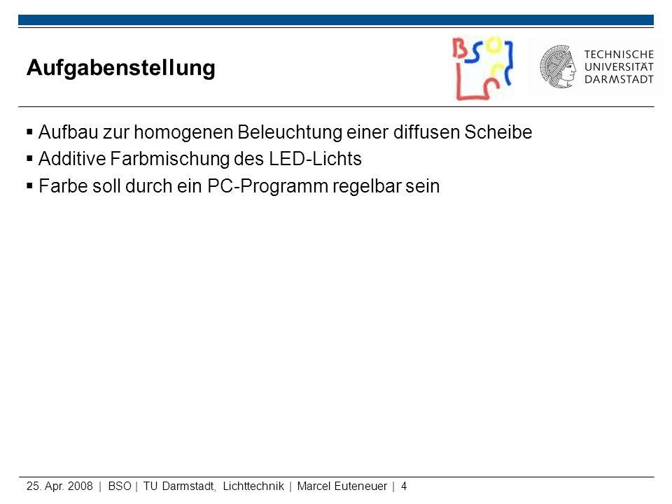 25. Apr. 2008 | BSO | TU Darmstadt, Lichttechnik | Marcel Euteneuer | 4 Aufgabenstellung Aufbau zur homogenen Beleuchtung einer diffusen Scheibe Addit