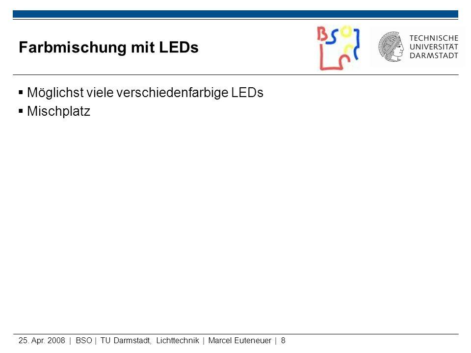 25. Apr. 2008 | BSO | TU Darmstadt, Lichttechnik | Marcel Euteneuer | 8 Farbmischung mit LEDs Möglichst viele verschiedenfarbige LEDs Mischplatz