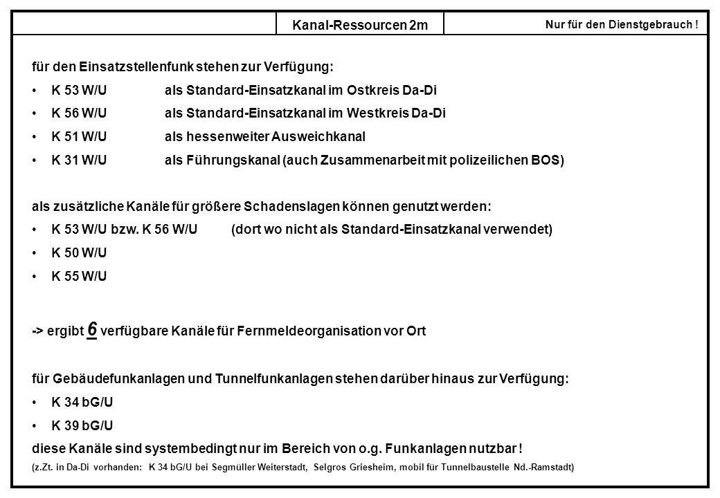 Nur für den Dienstgebrauch ! Kanal-Ressourcen 2m für den Einsatzstellenfunk stehen zur Verfügung: K 53 W/Uals Standard-Einsatzkanal im Ostkreis Da-Di