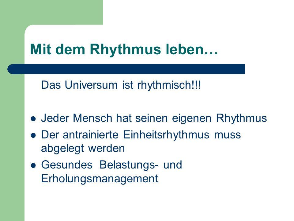 Mit dem Rhythmus leben… Das Universum ist rhythmisch!!! Jeder Mensch hat seinen eigenen Rhythmus Der antrainierte Einheitsrhythmus muss abgelegt werde