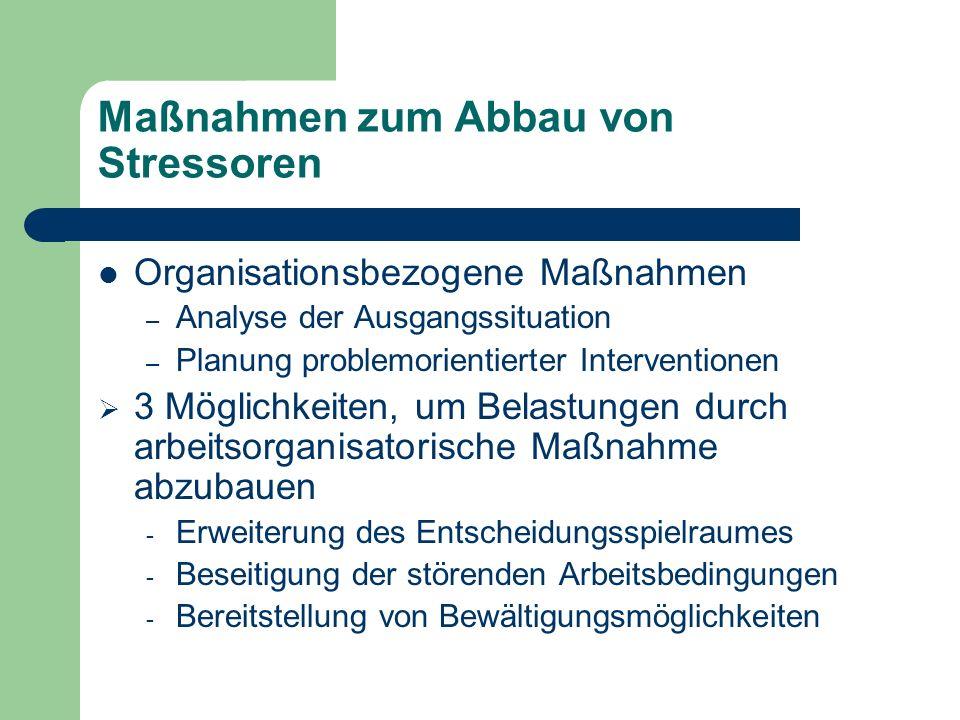 Maßnahmen zum Abbau von Stressoren Organisationsbezogene Maßnahmen – Analyse der Ausgangssituation – Planung problemorientierter Interventionen 3 Mögl