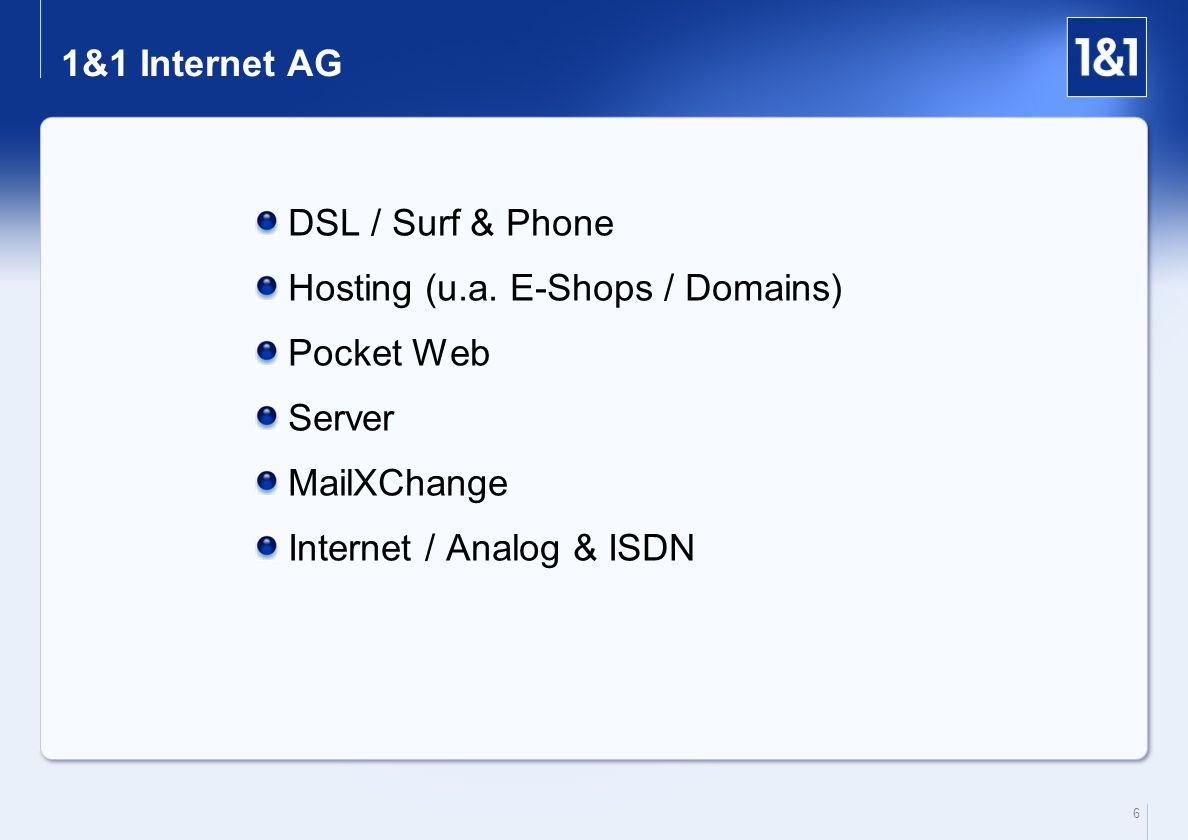 6 1&1 Internet AG DSL / Surf & Phone Hosting (u.a. E-Shops / Domains) Pocket Web Server MailXChange Internet / Analog & ISDN