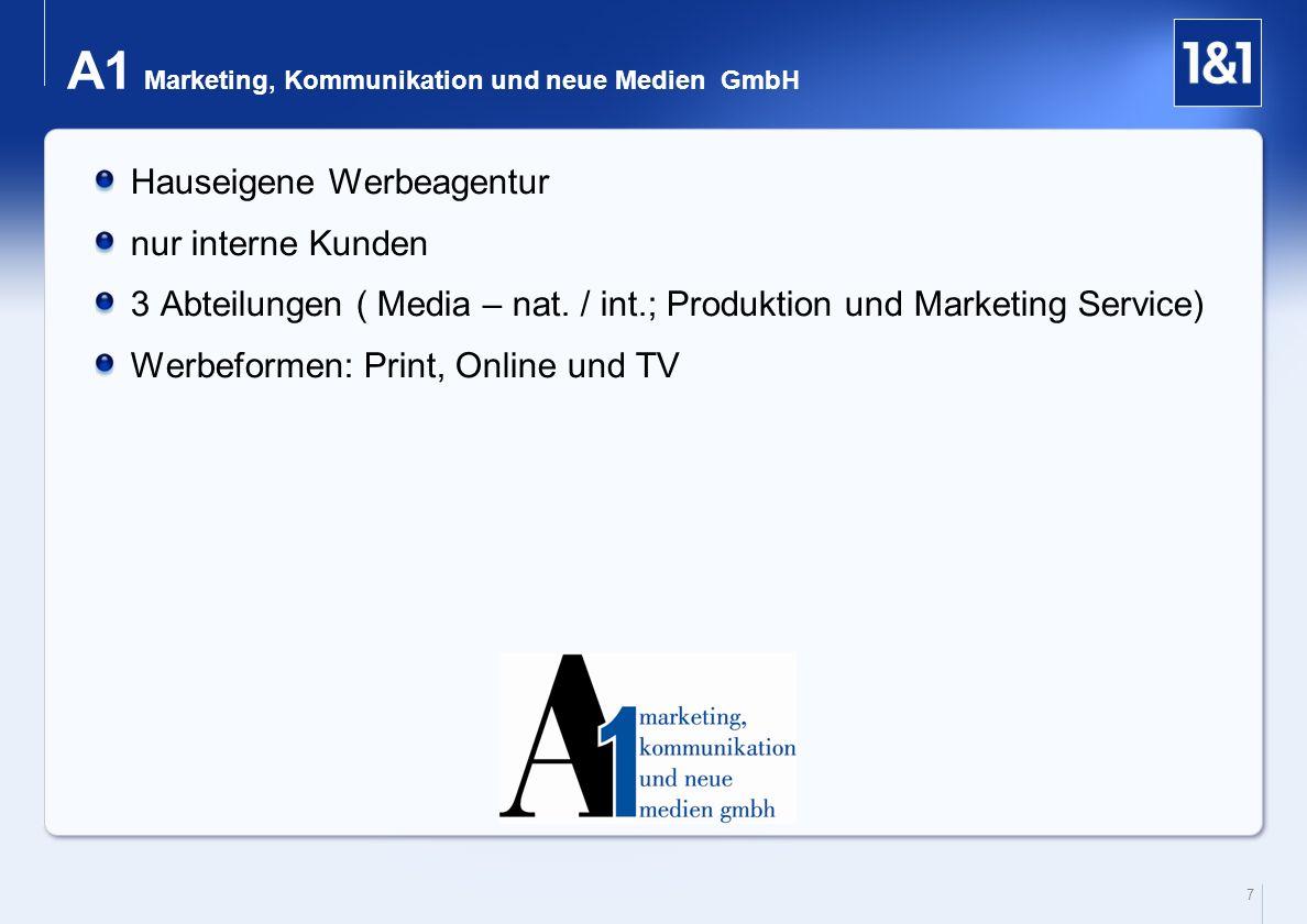 7 A1 Marketing, Kommunikation und neue Medien GmbH Hauseigene Werbeagentur nur interne Kunden 3 Abteilungen ( Media – nat. / int.; Produktion und Mark