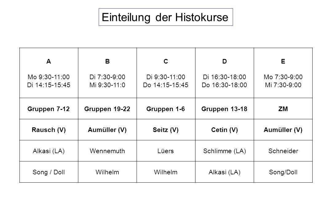 Einteilung der Histokurse A Mo 9:30-11:00 Di 14:15-15:45 B Di 7:30-9:00 Mi 9:30-11:0 C Di 9:30-11:00 Do 14:15-15:45 D Di 16:30-18:00 Do 16:30-18:00 E