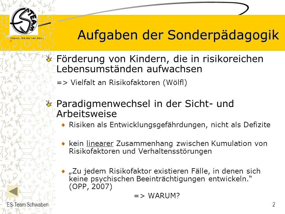 Oppawsky, Eike, Zelz, Wech, Böck, G rau, ES-Team Schwaben2 Aufgaben der Sonderpädagogik Förderung von Kindern, die in risikoreichen Lebensumständen au