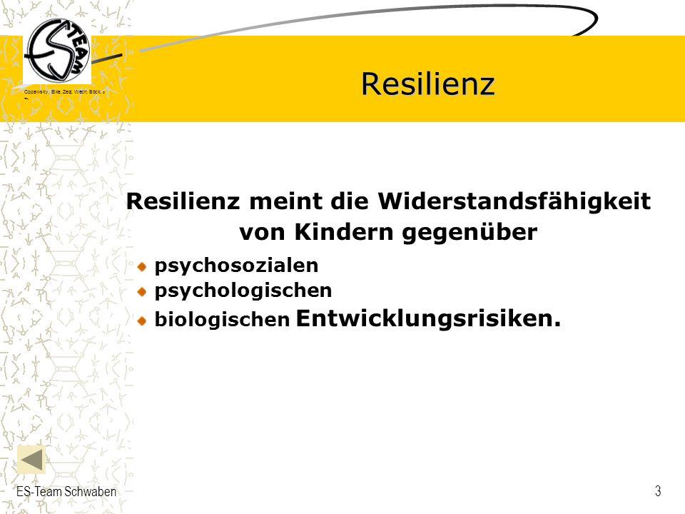 Oppawsky, Eike, Zelz, Wech, Böck, G rau, ES-Team Schwaben3 Resilienz Resilienz meint die Widerstandsfähigkeit von Kindern gegenüber psychosozialen psy