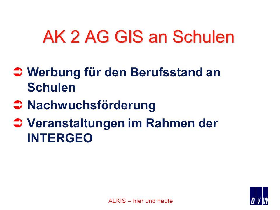 ALKIS – hier und heute AK 2 AG GIS an Schulen Werbung für den Berufsstand an Schulen Nachwuchsförderung Veranstaltungen im Rahmen der INTERGEO