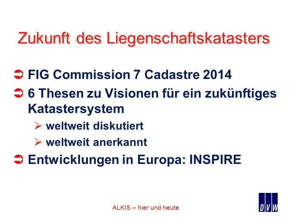 ALKIS – hier und heute Zukunft des Liegenschaftskatasters FIG Commission 7 Cadastre 2014 6 Thesen zu Visionen für ein zukünftiges Katastersystem weltw