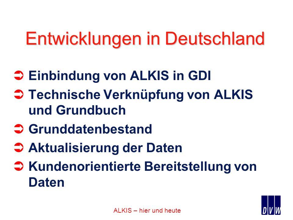 ALKIS – hier und heute Entwicklungen in Deutschland Einbindung von ALKIS in GDI Technische Verknüpfung von ALKIS und Grundbuch Grunddatenbestand Aktua
