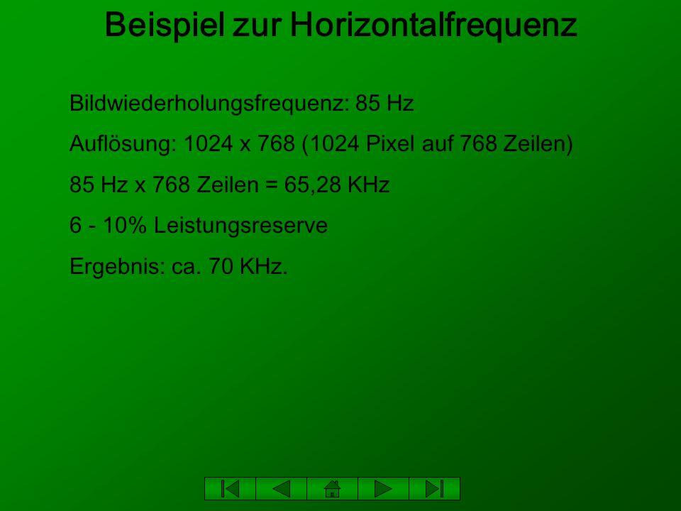 Beispiel zur Horizontalfrequenz Bildwiederholungsfrequenz: 85 Hz Auflösung: 1024 x 768 (1024 Pixel auf 768 Zeilen) 85 Hz x 768 Zeilen = 65,28 KHz 6 -