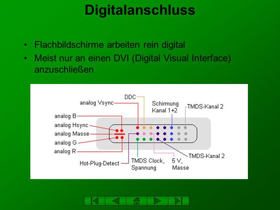 Digitalanschluss Flachbildschirme arbeiten rein digital Meist nur an einen DVI (Digital Visual Interface) anzuschließen
