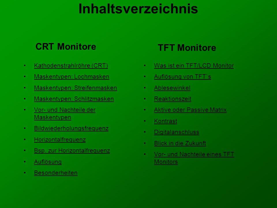 Ein LCD/TFT Bildschirm von vorne Ein LCD/TFT Bildschirm von der Seite Ein Vergleich zwischen LCD/TFT und einem CRT Monitor Verschieden LCD/TFT und CRT Monitore