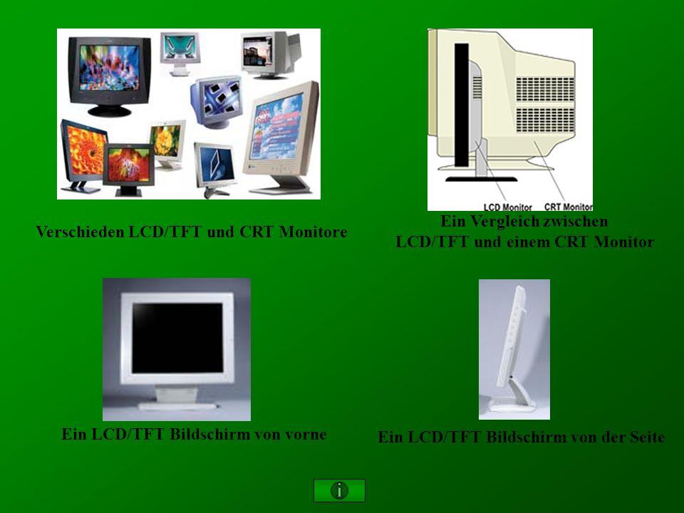 Ein LCD/TFT Bildschirm von vorne Ein LCD/TFT Bildschirm von der Seite Ein Vergleich zwischen LCD/TFT und einem CRT Monitor Verschieden LCD/TFT und CRT