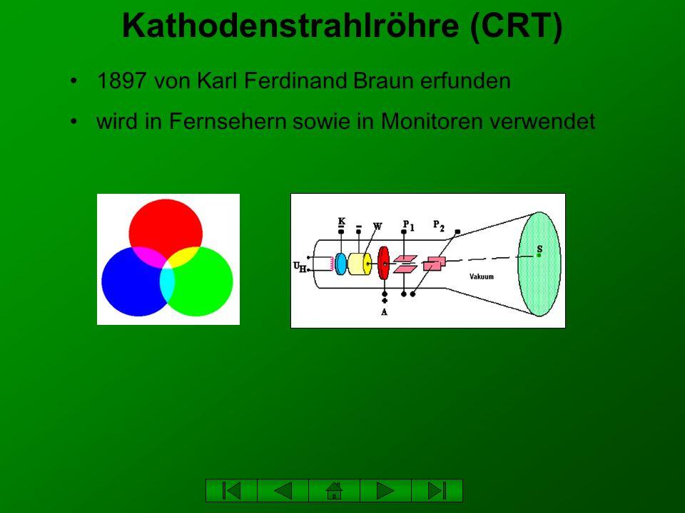 Kathodenstrahlröhre (CRT) 1897 von Karl Ferdinand Braun erfunden wird in Fernsehern sowie in Monitoren verwendet