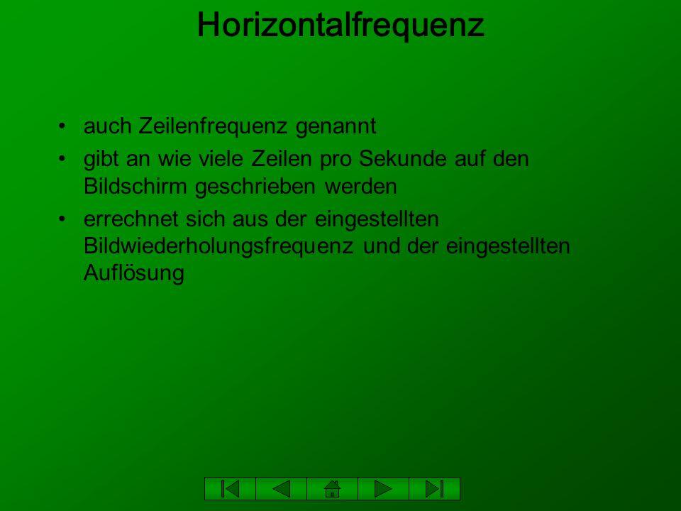 Beispiel zur Horizontalfrequenz Bildwiederholungsfrequenz: 85 Hz Auflösung: 1024 x 768 (1024 Pixel auf 768 Zeilen) 85 Hz x 768 Zeilen = 65,28 KHz 6 - 10% Leistungsreserve Ergebnis: ca.