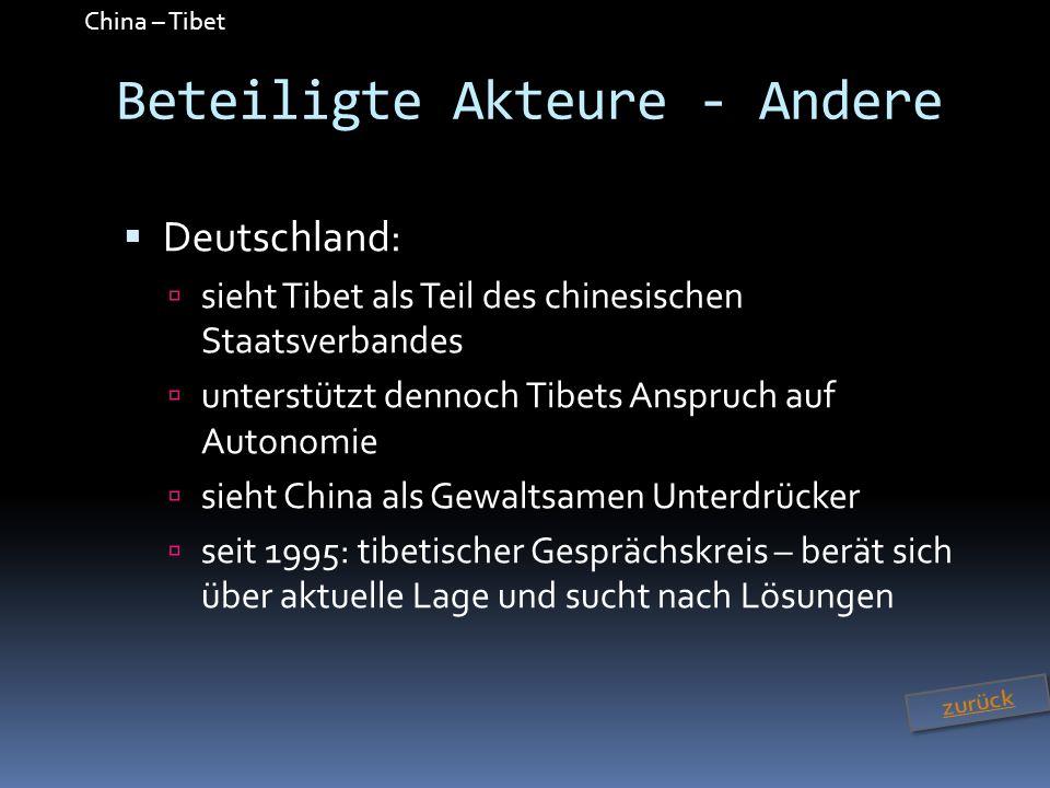China – Tibet Beteiligte Akteure - Andere Deutschland: sieht Tibet als Teil des chinesischen Staatsverbandes unterstützt dennoch Tibets Anspruch auf A