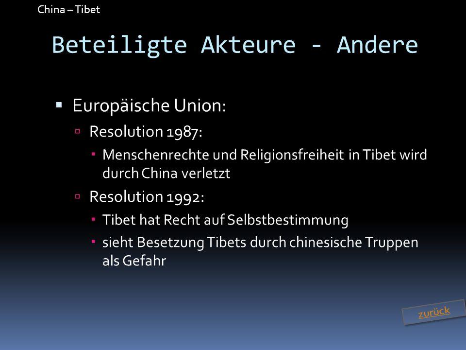 China – Tibet Beteiligte Akteure - Andere Europäische Union: Resolution 1987: Menschenrechte und Religionsfreiheit in Tibet wird durch China verletzt