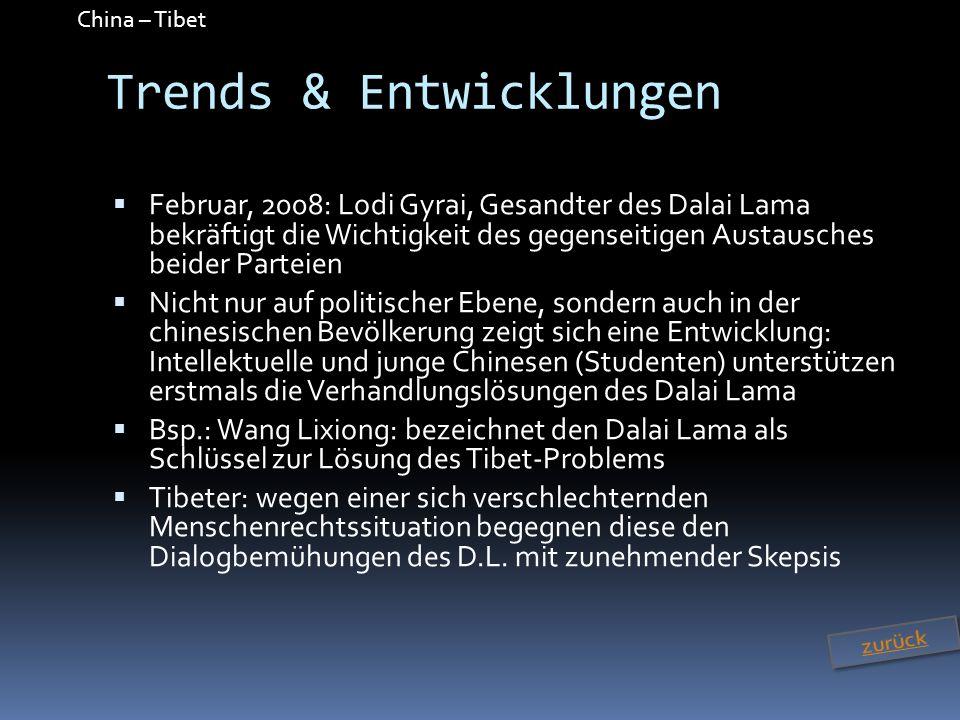China – Tibet Trends & Entwicklungen Februar, 2008: Lodi Gyrai, Gesandter des Dalai Lama bekräftigt die Wichtigkeit des gegenseitigen Austausches beid