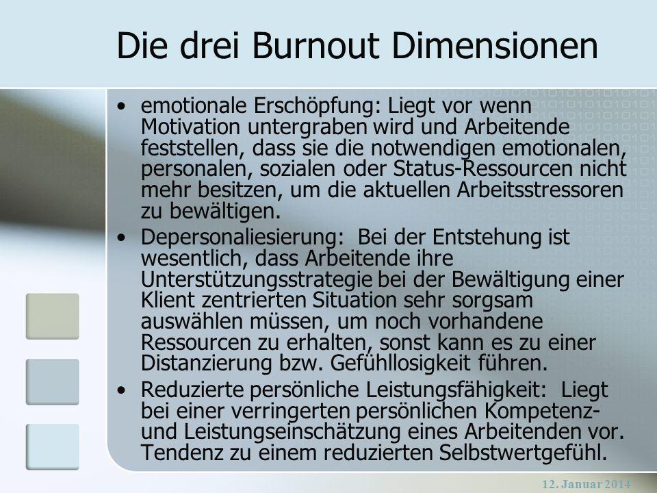12. Januar 2014 Die drei Burnout Dimensionen emotionale Erschöpfung: Liegt vor wenn Motivation untergraben wird und Arbeitende feststellen, dass sie d