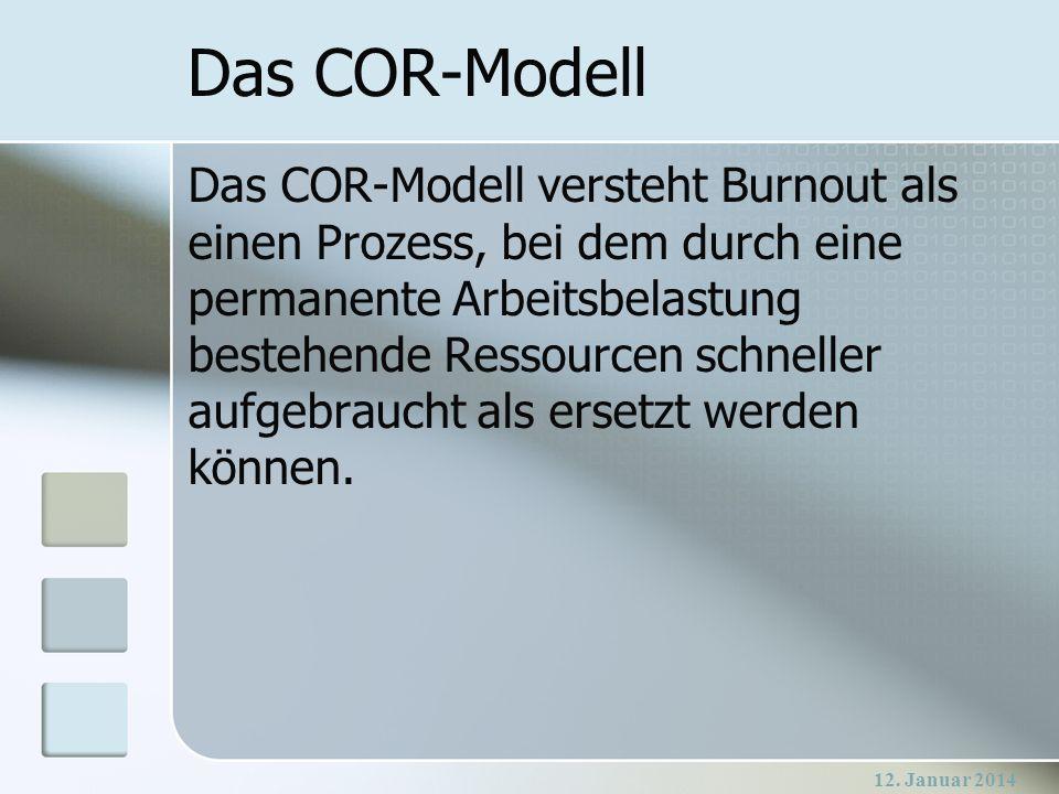 12. Januar 2014 Das COR-Modell Das COR-Modell versteht Burnout als einen Prozess, bei dem durch eine permanente Arbeitsbelastung bestehende Ressourcen