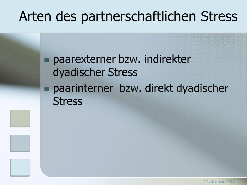 12. Januar 2014 Arten des partnerschaftlichen Stress paarexterner bzw. indirekter dyadischer Stress paarinterner bzw. direkt dyadischer Stress