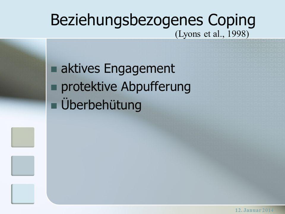 12. Januar 2014 Beziehungsbezogenes Coping aktives Engagement protektive Abpufferung Überbehütung (Lyons et al., 1998)