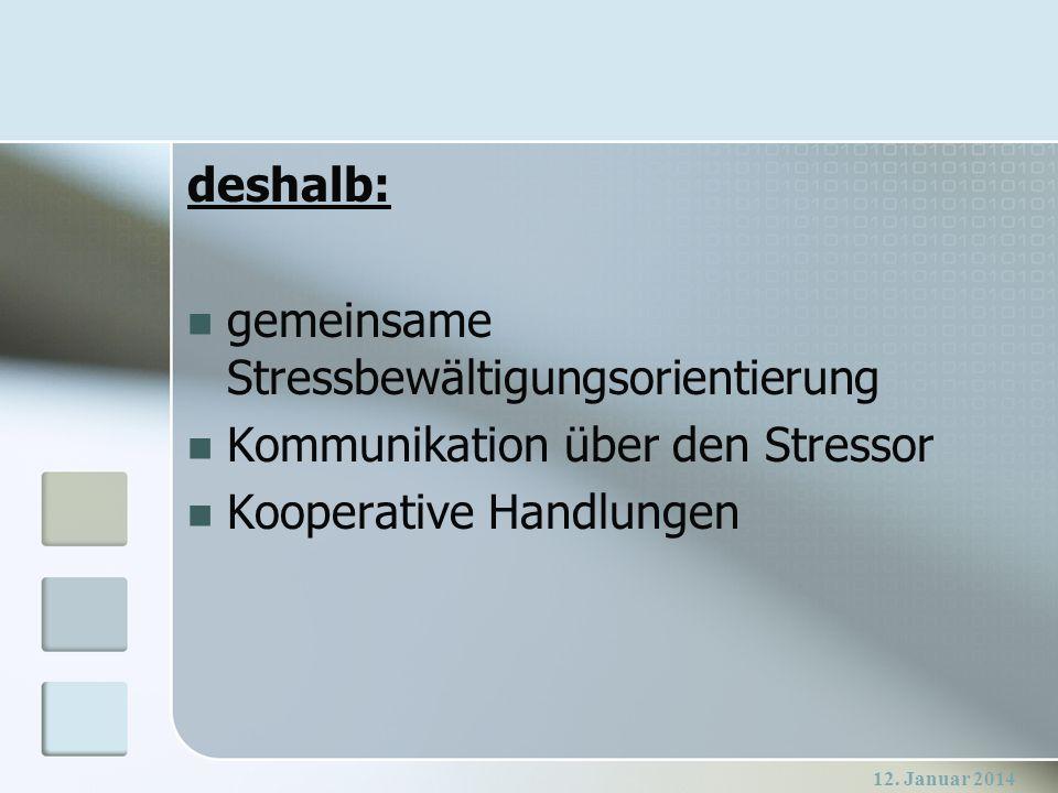 12. Januar 2014 deshalb: gemeinsame Stressbewältigungsorientierung Kommunikation über den Stressor Kooperative Handlungen