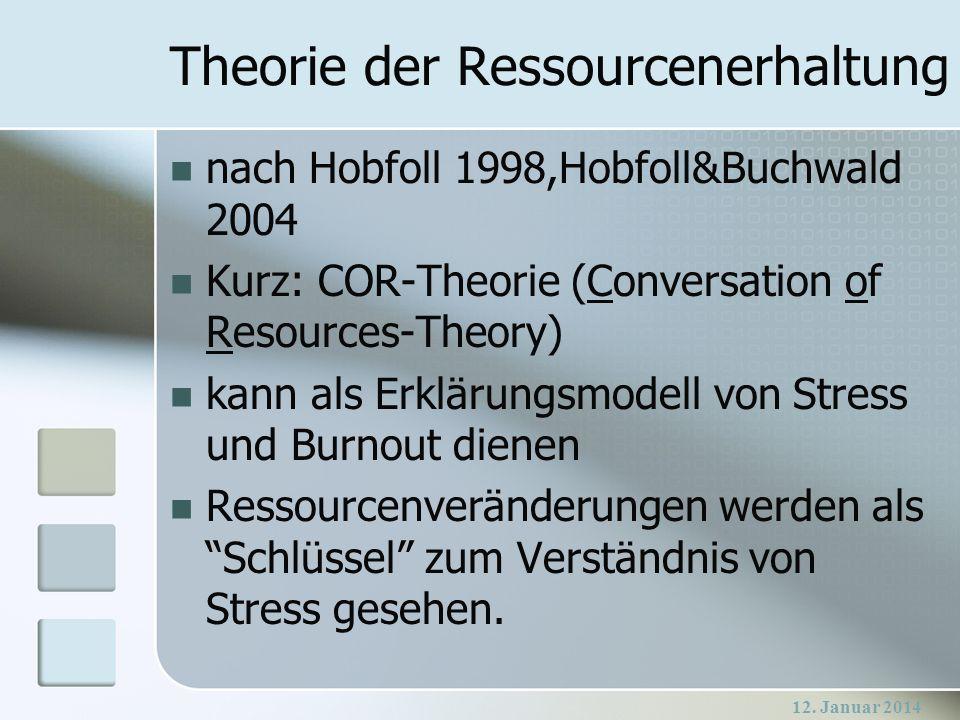 12. Januar 2014 Theorie der Ressourcenerhaltung nach Hobfoll 1998,Hobfoll&Buchwald 2004 Kurz: COR-Theorie (Conversation of Resources-Theory) kann als
