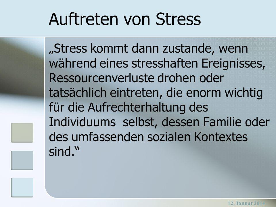 12. Januar 2014 Auftreten von Stress Stress kommt dann zustande, wenn während eines stresshaften Ereignisses, Ressourcenverluste drohen oder tatsächli