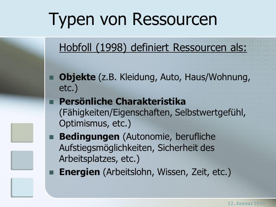 12. Januar 2014 Typen von Ressourcen Hobfoll (1998) definiert Ressourcen als: Objekte (z.B. Kleidung, Auto, Haus/Wohnung, etc.) Persönliche Charakteri