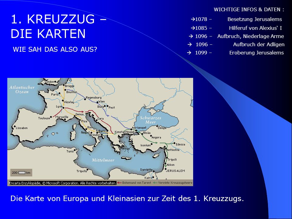 1. KREUZZUG – DER GROßE SIEG INFOS: WICHTIGE INFOS & DATEN : DIE EROBERUNG JERUSALEMS Am 15. Juli 1099 die Stadt und richteten unter der jüdischen und