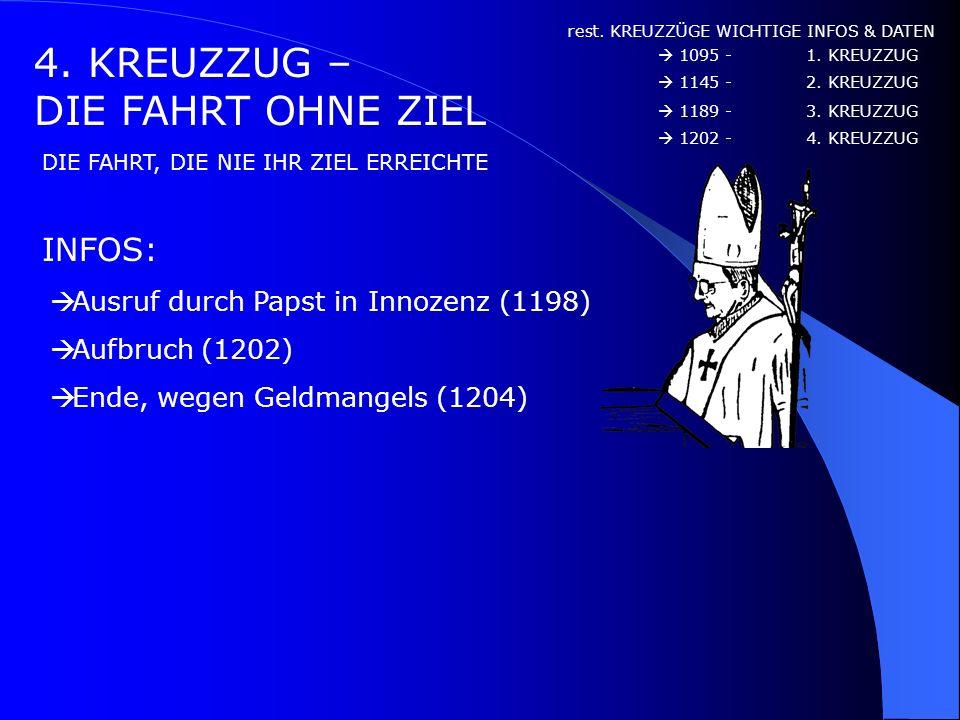 3. KREUZZUG – DER AUFRUF INFOS: 3. KREUZZUG : WICHTIGE INFOS & DATEN : Wie der 3. Kreuzzug begann Aufruf zum 3. Kreuzzug durch Papst Gregor VIII (1187