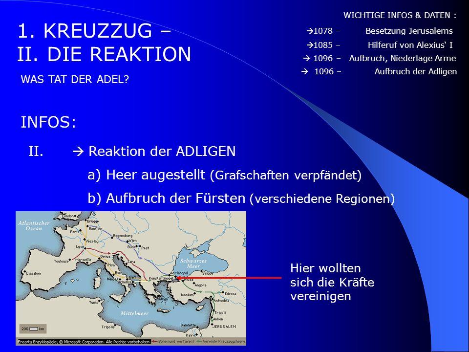 1. KREUZZUG – I. DIE REAKTION INFOS: WICHTIGE INFOS & DATEN : WAS HABEN DIE MENSCHEN DAMALS GETAN? I. Reaktion der Armen a) Kreuzzug der Armen 1078 –