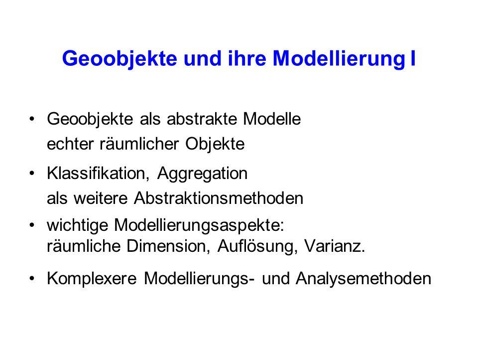 Geoobjekte und ihre Modellierung I Geoobjekte als abstrakte Modelle echter räumlicher Objekte Klassifikation, Aggregation als weitere Abstraktionsmeth