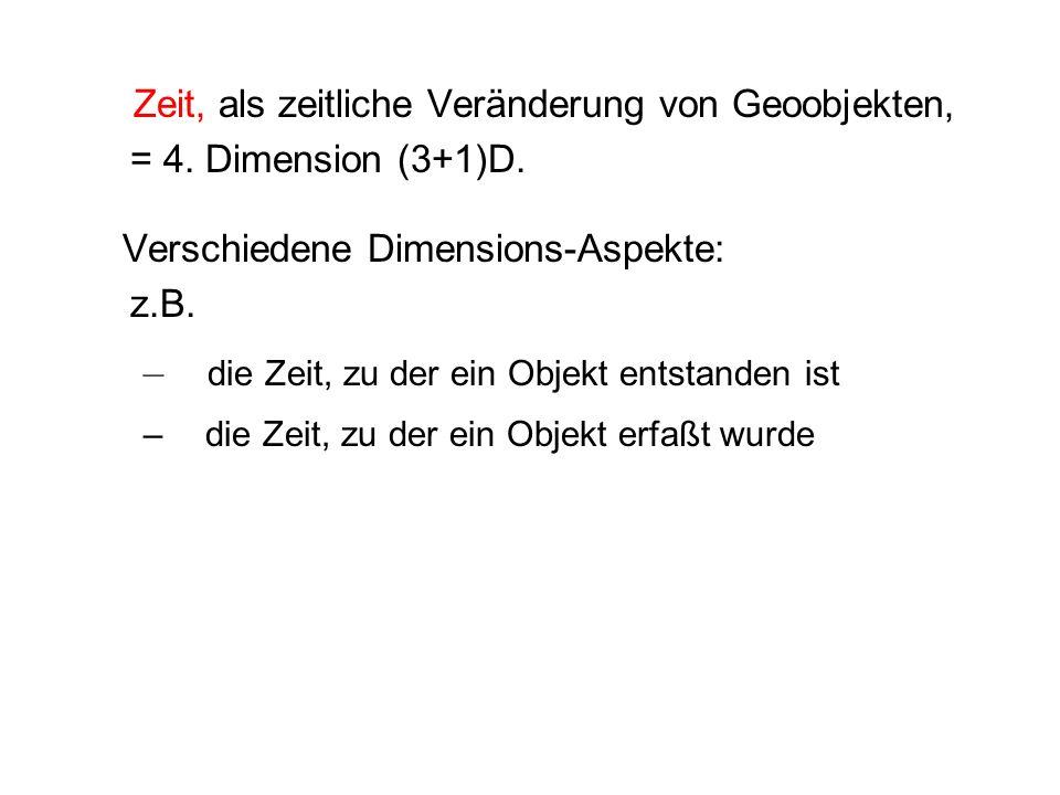 Zeit, als zeitliche Veränderung von Geoobjekten, = 4. Dimension (3+1)D. Verschiedene Dimensions-Aspekte: z.B. – die Zeit, zu der ein Objekt entstanden