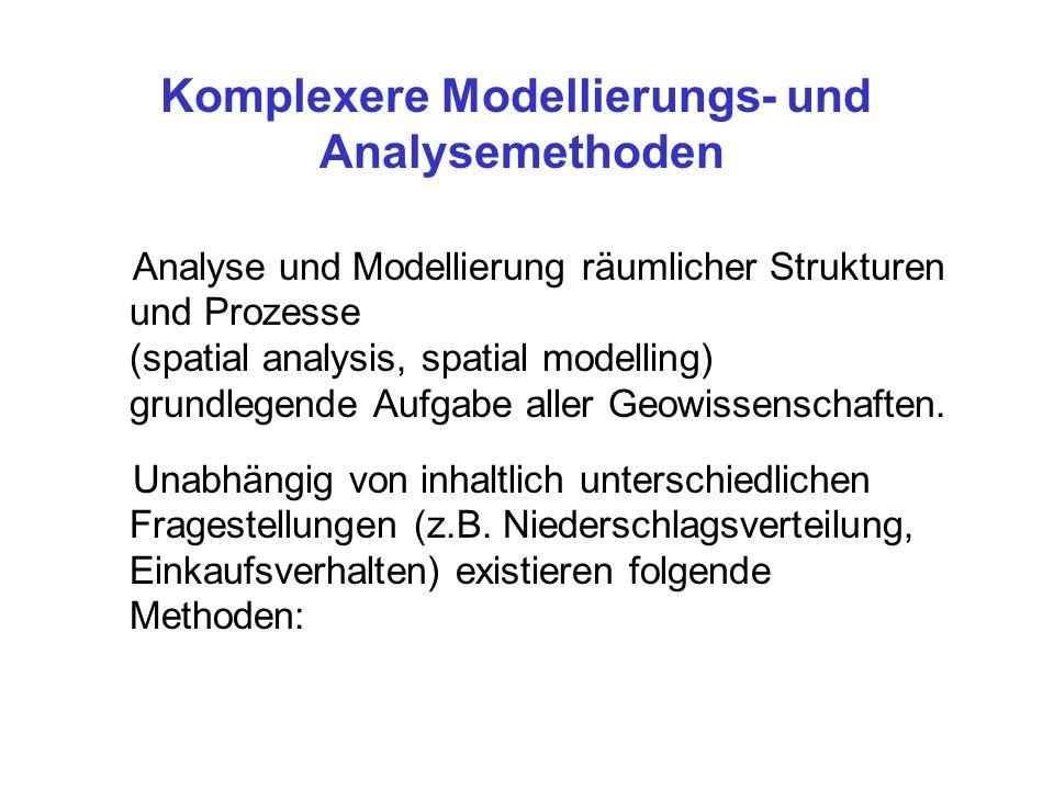 Analyse und Modellierung räumlicher Strukturen und Prozesse (spatial analysis, spatial modelling) grundlegende Aufgabe aller Geowissenschaften. Unabhä