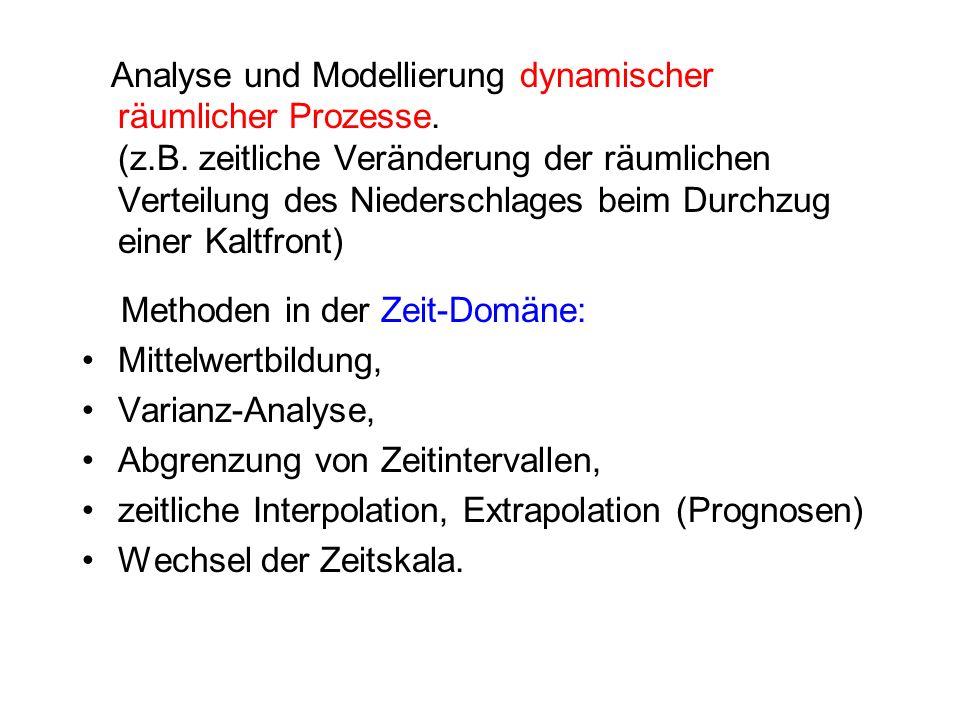 Analyse und Modellierung dynamischer räumlicher Prozesse. (z.B. zeitliche Veränderung der räumlichen Verteilung des Niederschlages beim Durchzug einer