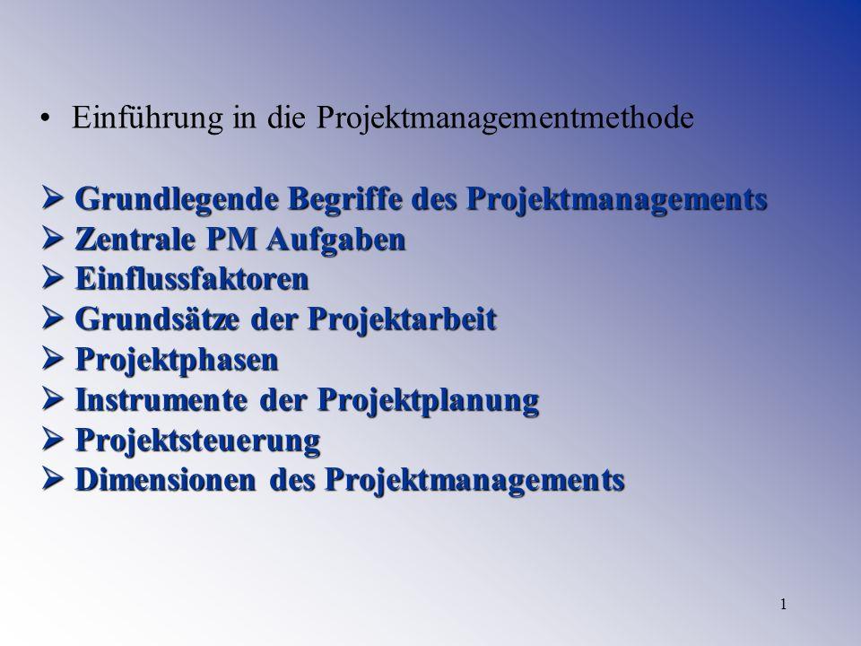 1 Einführung in die Projektmanagementmethode Grundlegende Begriffe des Projektmanagements Grundlegende Begriffe des Projektmanagements Zentrale PM Auf