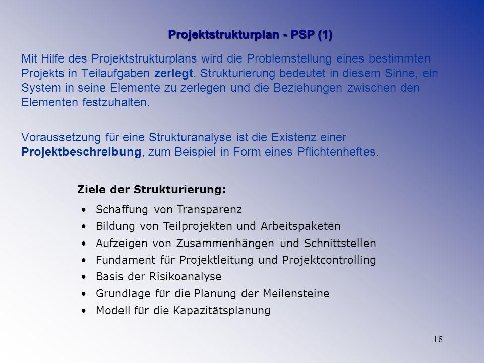 18 Projektstrukturplan - PSP (1) Mit Hilfe des Projektstrukturplans wird die Problemstellung eines bestimmten Projekts in Teilaufgaben zerlegt. Strukt
