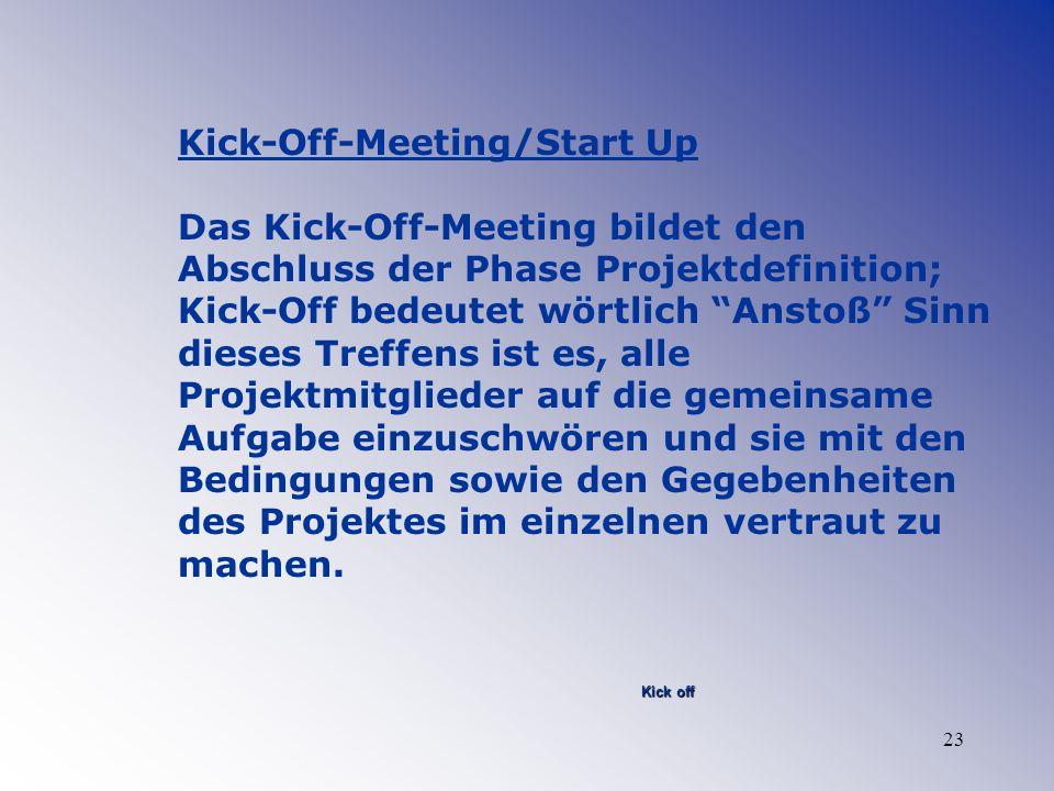 23 Kick-Off-Meeting/Start Up Das Kick-Off-Meeting bildet den Abschluss der Phase Projektdefinition; Kick-Off bedeutet wörtlich Anstoß Sinn dieses Tref