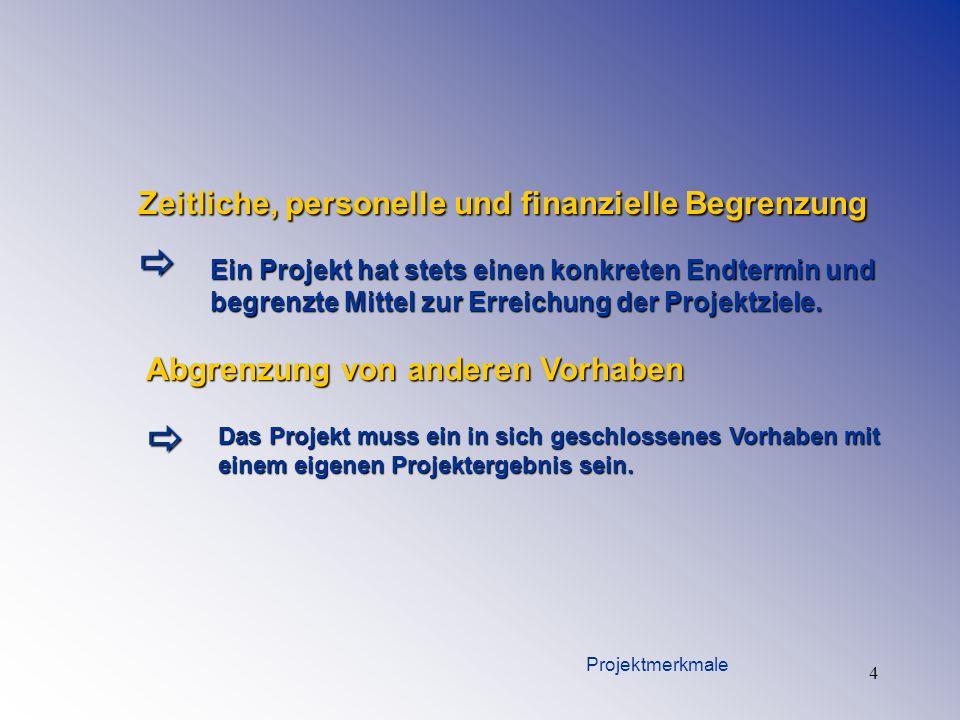 4 Zeitliche, personelle und finanzielle Begrenzung Ein Projekt hat stets einen konkreten Endtermin und begrenzte Mittel zur Erreichung der Projektziel