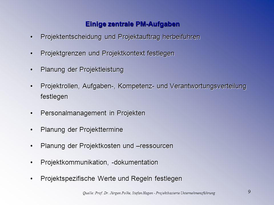 9 Einige zentrale PM-Aufgaben Projektentscheidung und Projektauftrag herbeiführenProjektentscheidung und Projektauftrag herbeiführen Projektgrenzen un