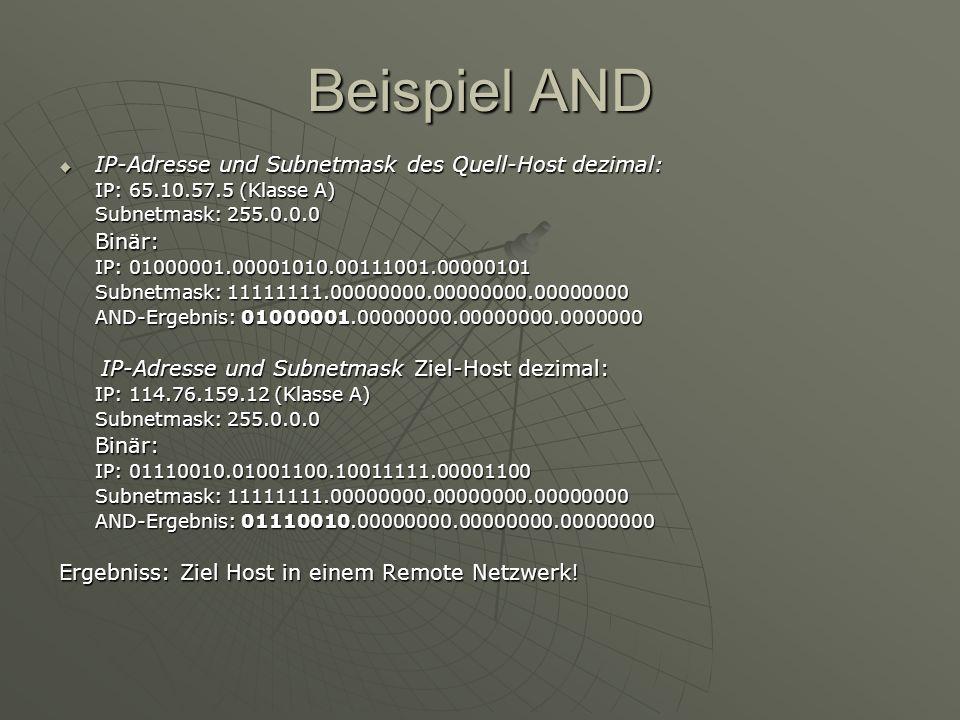 Beispiel AND IP-Adresse und Subnetmask des Quell-Host dezimal: IP-Adresse und Subnetmask des Quell-Host dezimal: IP: 65.10.57.5 (Klasse A) Subnetmask: 255.0.0.0 Binär: IP: 01000001.00001010.00111001.00000101 Subnetmask: 11111111.00000000.00000000.00000000 AND-Ergebnis: 01000001.00000000.00000000.0000000 IP-Adresse und Subnetmask Ziel-Host dezimal: IP-Adresse und Subnetmask Ziel-Host dezimal: IP: 114.76.159.12 (Klasse A) Subnetmask: 255.0.0.0 Binär: IP: 01110010.01001100.10011111.00001100 Subnetmask: 11111111.00000000.00000000.00000000 AND-Ergebnis: 01110010.00000000.00000000.00000000 Ergebniss: Ziel Host in einem Remote Netzwerk!