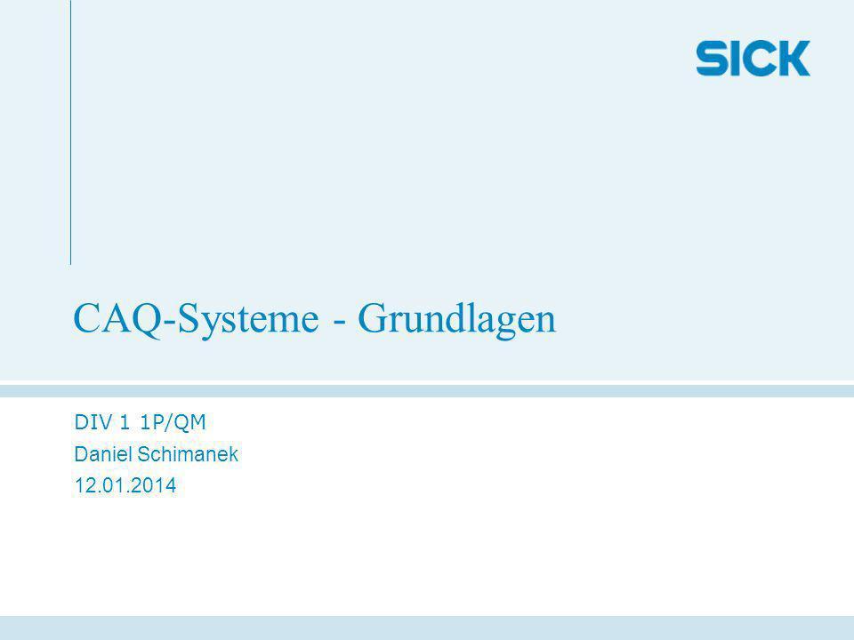 CAQ-Systeme - Grundlagen DIV 1 1P/QM Daniel Schimanek 12.01.2014