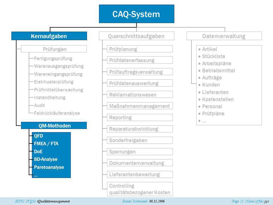 :Page 13 (Name of file).ppt:Daniel Schimanek 08.11.2006:DIV01 1P/QM (Qualitätsmanagement) CAQ-System QuerschnittsaufgabenDatenverwaltung Maßnahmenmana
