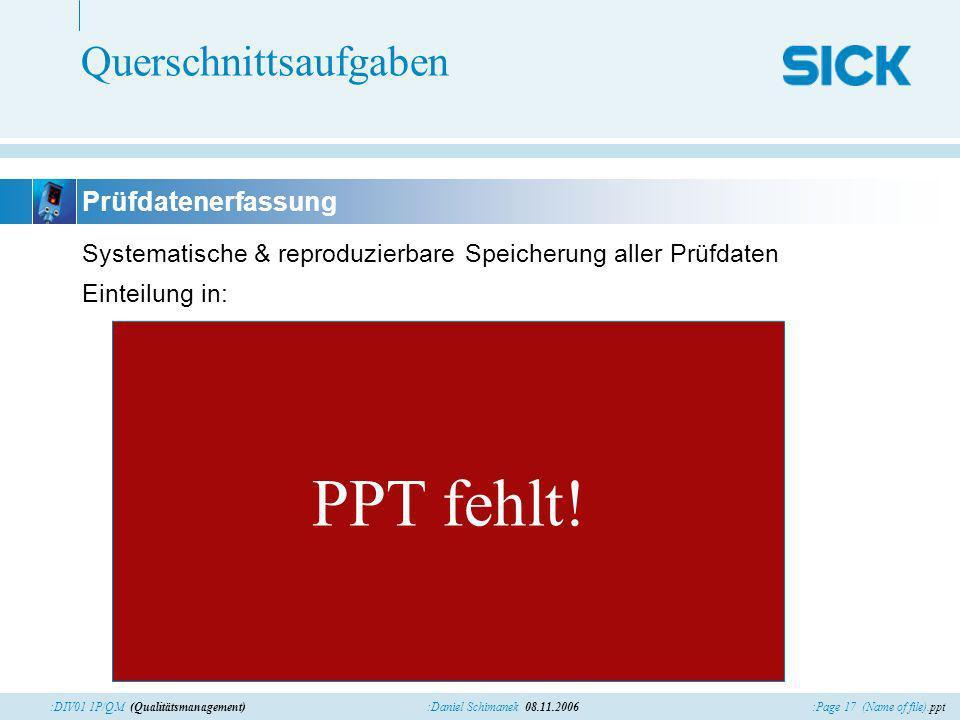 :Page 17 (Name of file).ppt:Daniel Schimanek 08.11.2006:DIV01 1P/QM (Qualitätsmanagement) Querschnittsaufgaben Systematische & reproduzierbare Speiche