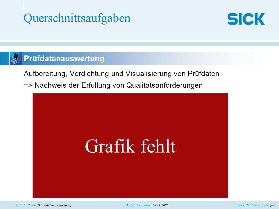 :Page 19 (Name of file).ppt:Daniel Schimanek 08.11.2006:DIV01 1P/QM (Qualitätsmanagement) Querschnittsaufgaben Aufbereitung, Verdichtung und Visualisi