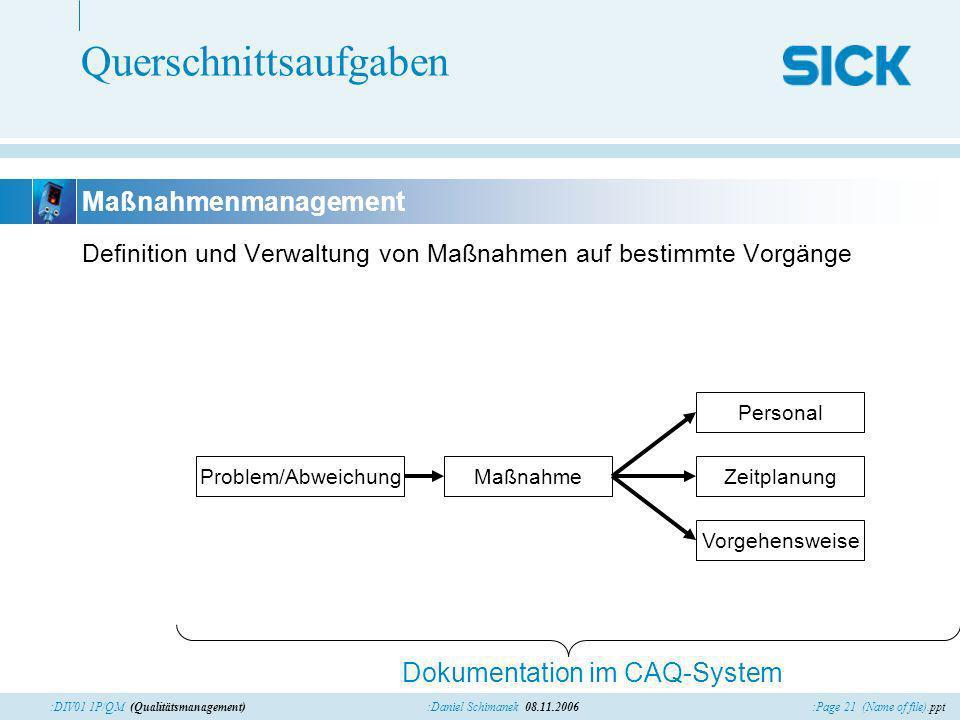 :Page 21 (Name of file).ppt:Daniel Schimanek 08.11.2006:DIV01 1P/QM (Qualitätsmanagement) Querschnittsaufgaben Definition und Verwaltung von Maßnahmen
