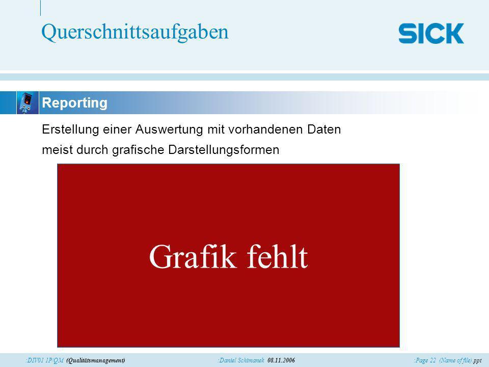 :Page 22 (Name of file).ppt:Daniel Schimanek 08.11.2006:DIV01 1P/QM (Qualitätsmanagement) Querschnittsaufgaben Erstellung einer Auswertung mit vorhandenen Daten meist durch grafische Darstellungsformen Reporting Grafik fehlt