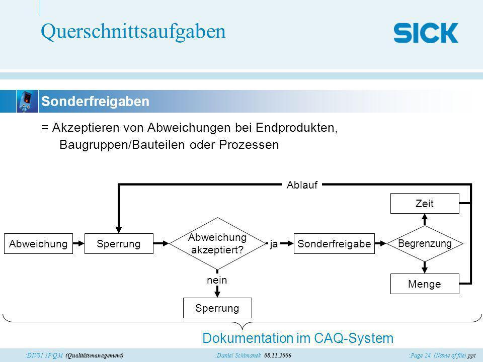 :Page 24 (Name of file).ppt:Daniel Schimanek 08.11.2006:DIV01 1P/QM (Qualitätsmanagement) Querschnittsaufgaben = Akzeptieren von Abweichungen bei Endp